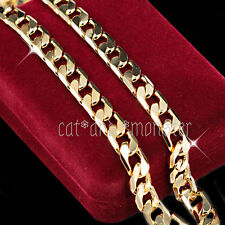 Mens Women 18K YELLOW GOLD FILLED 8MM DIAMOND CUT CURB CHAIN 60CM LONG NECKLACE