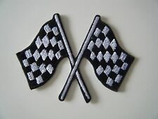 CHEQUERED FLAG PATCH Embroidered Iron On Badge MOTOR RACING GRAND PRIX NEW