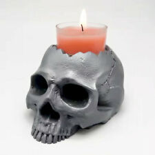 3D skull candlestick silicone mold home decoration concrete resin making mould