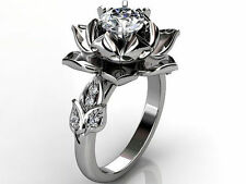 Certified 14K White Gold 2.00Ct Flower Style Engagement & Wedding Antique Ring
