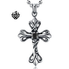 Silver pendant vintage style stainless steel cross black cz ball chain necklace