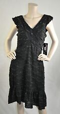 Signature By Robbie Bee NWT Cap Sleeve Cocktail Knit Dress Black Size L Ret $89