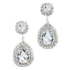 Sparkly Teardrop Earrings Long Diamante Rhinestone Jewellery Proms Brides 0268 Clear Silver