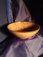 HANDMADE-REDWARE POTTERY BOWL- COFFEE COLORED GLAZE w/ DARK BROWN SPATTER