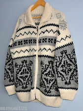 Vintage COWICHAN HAND KNIT WOOL ZIP-UP Sweater Camping CURLING LEBOWSKI XL