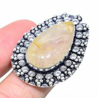 Golden Rutile Gemstone Handmade 925 Sterling Silver Jewelry Ring Size 9