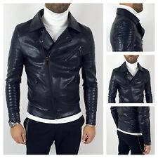Giubbotto giacca uomo ecopelle casual giubbino Chiodo moto slim fit nero Bikers