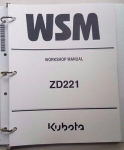 2009 KUBOTA ZD221 ZERO TURN TRACTOR WORKSHOP MANUAL