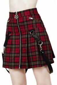 KILLSTAR Dead Beatz Mini Skirt Tartan Red Pentagram Straps Zip Gothic NWT Women
