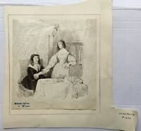 Baroque Drawing - Interior with Two Ladies and Cat - um 68906 3/16X8 1/8in
