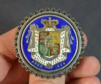 1836 William IV Half Crown Sterling Silver & Enamel Locket Brooch