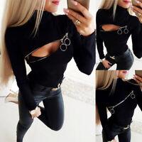 Women Turtleneck T-Shirt Tops Ladies Zipper Long Sleeve Slim Fit Blouse Casual