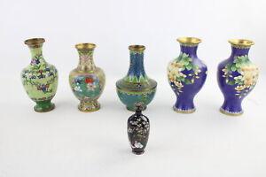 6 x Vintage Decorative CLOISONNE ENAMEL BRASS VASES Inc. Matching Pairs, Pot
