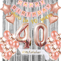 40th Birthday Party Tableware Rose Gold Balloons Decorations Napkins Banner Gift