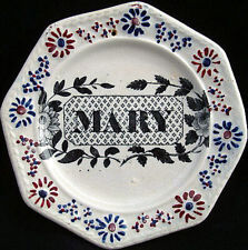 Early Child's Transferware Pearlware Name Plate ~ MARY 1830