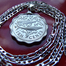 "Bahamas Carribean Two Fish Coin Pendant on a  30"" 925 Sterling Silver Chain"