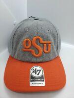Oklahoma State University OSU '47 Clean Up Gray & Orange Strapback Hat Cap