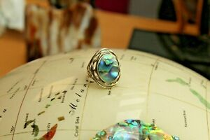 """Sterling silver oval abalone statement ring in """"wire basket"""" style mount"""