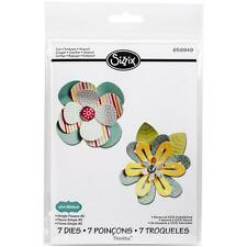 NEW Sizzix Thinlits 659949 Simple Flowers #2 7x floral & leaf metal cutting dies