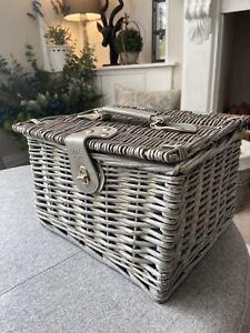 M&S Grey Wicker Lidded Storage Picnic Basket Hamper Kitchen Shabby Chic