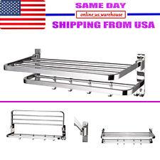 Foldable 304 Stainless Steel Towel Rack Bar Wall Mounted Holder Bathroom Shelf