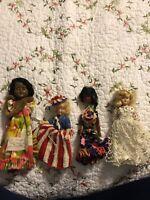 4 Vintage Hard Plastic Doll Lot baby dolls USA Blonde Blinking Eyes Lace Dress