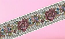 "Jacquard Ribbon 2-3/8"" Floral, White & Gray w/Pink Roses Olive Leaves, Per Yard"
