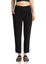 HELMUT LANG WOMENS 'BLAZE' BLACK LOOSE FIT SATIN TRIM TROUSERS -US 8/UK 12-14-