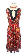 LEONA EDMISTON Dress - Geometric Print Navy Red Keyhole Vintage Stretch - XS/8