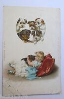 """Hund, Kinder,Kissen"" 1899 ♥ (9794)"