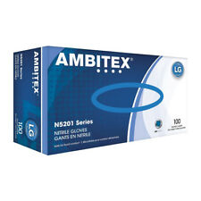Ambitex N5201 Powder-Free Nitrile General-Purpose Gloves, Large, Blue, Box of...