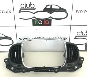 Fiat 500 Centre Air Heater Vent in Black with Chrome trim (2015 onwards)