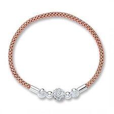 Glitterball Bracciale Rosa Oro Placcato Argento Sterling 925 * Nuovo di Zecca