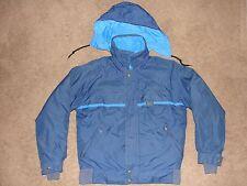 EDDIE BAUER Goose Down Gore Tex Parka Jacket Coat ~ Blue w/hood Size SMALL