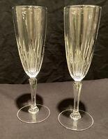 2 VINTAGE CRYSTAL CHAMPAGNE FLUTE GLASS DRINK CAVA WINE BAR PROSECCO SPARKLING