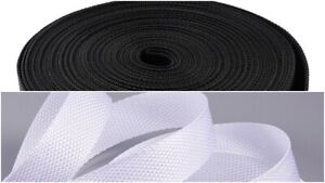 Low Price - (1 inch) & (2 inch) White & Black Strong Nylon Webbing 100 Meters