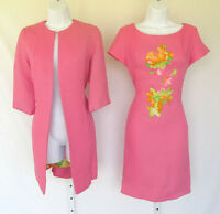 VINTAGE 1960s JAN SUE OF CALIFORNIA DRESS SUIT PINK FLOWERS COTTON BLEND KNIT