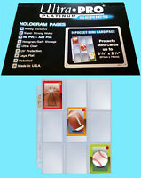 "25 ULTRA PRO 9 POCKET PLATINUM MINI Card PAGES 3-1/8"" x 2-1/4"" sticker coupon"