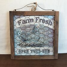 Hobby Lobby Farm Fresh Eggs & Produce Chicken Wire Wood Framed Sign HD6