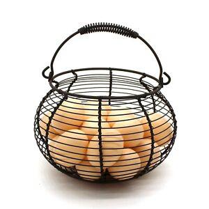 Rustic Wire Egg Basket with swimming Handle Primitives Vintage Gathering Basket