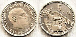 España-Estado Español. 5 Pesetas 1957*75 Acuñacion PROOF. Niquel 5,7 g.