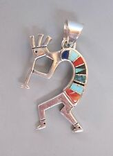 Navajo Sterling Silver and Stone Inlay Kokopelli Pendant #2 by Calvin Begay
