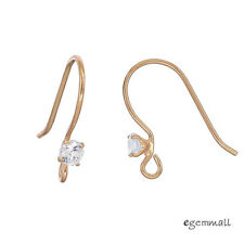 2 Pairs Rose Gold Plated Sterling Silver CZ French Hook Ear Wire Earrings #99381