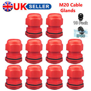 PACK OF 10 M20 20MM IP68 RED STUFFING COMPRESSION GLAND WATERPROOF WASHER NUT