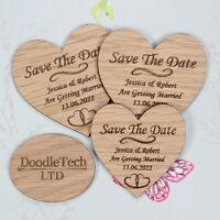 Wooden Heart Save The Date Personalised Wedding Invite Magnets Rustic