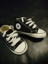 Infant Baby Converse Chuck Taylor All Star Crib Sneaker Shoes Black/White Size 3