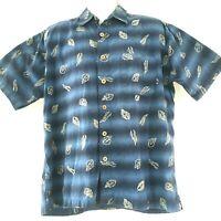 Gotcha Sport Men's Hawaiian Leaves Short Sleeve Blue Button Up Cotton Shirt Sz L