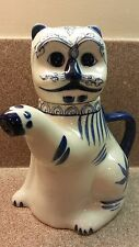 """KITTY CAT TEAPOT PORCELAIN HAND PAINTED BLUE & WHITE 8.5"""" HIGH THAILAND"""