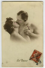 1910s French Glamour Part Nude KISSING BEAUTY w/ Friend risque photo postcard