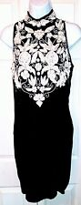 Stenay women's Silk Dress size 6 Beads Sequin sleeveless fitted short slit black